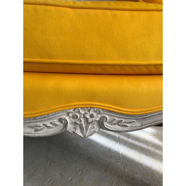 1900s Canary Yellow French Settee For Sale - Image 11 of 13