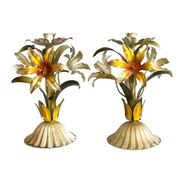 Vintage Italian Tole Lilies Flowers Painted Tole Candle Holders - a Pair For Sale