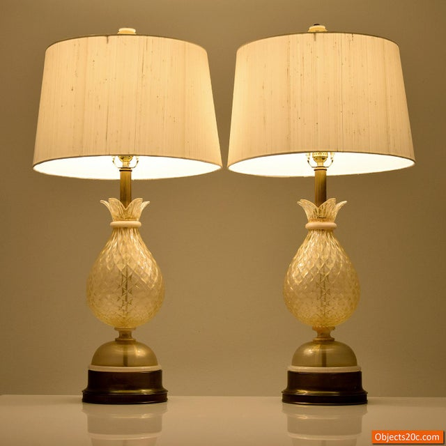 Vintage Mid Century Barovier & Toso Style Lamps- A Pair For Sale - Image 9 of 10