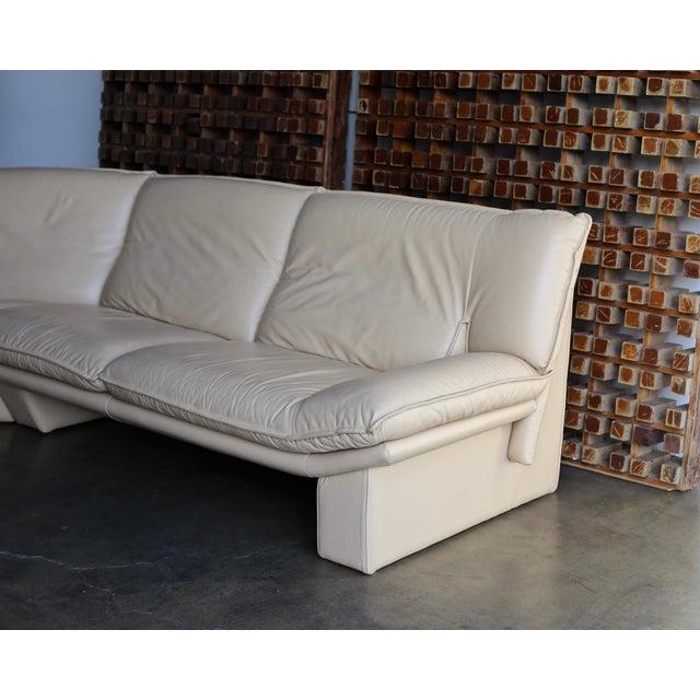 Nicoletti Salotti Modern Leather Sectional Sofa Circa 1985 For Sale - Image 4 of 13