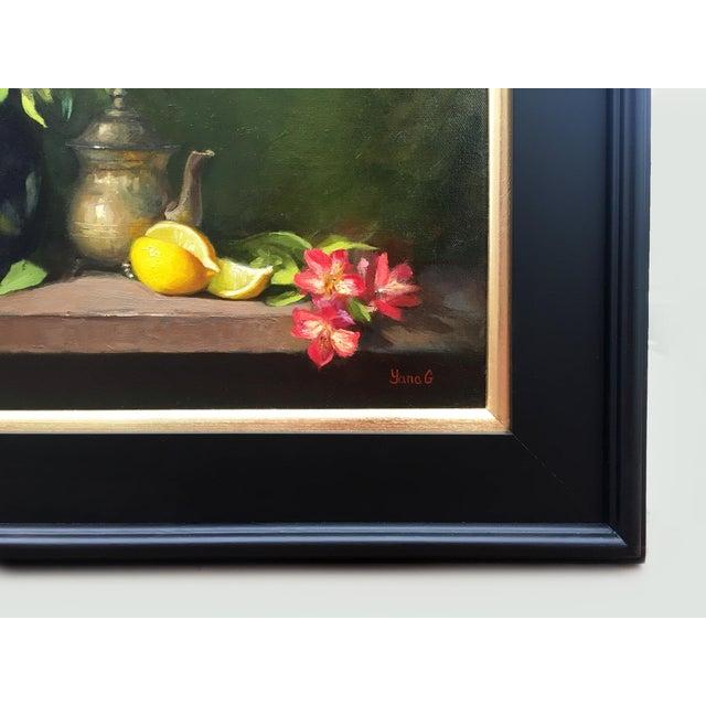 Alstroemeria, Lemons & Silver Teapot Oil Painting - Image 7 of 7
