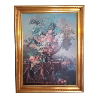Vintage Fruits and Flowers Still Life Painting For Sale