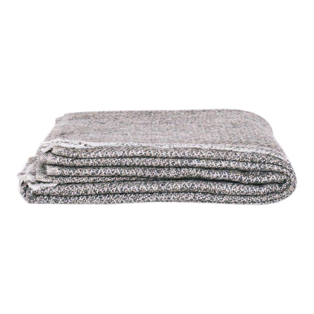Kashmir Hand Loomed Throw in Grey For Sale