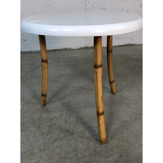 Boho Chic 1960s Round Fiberglass & Burnt Bamboo Side Table For Sale - Image 3 of 6