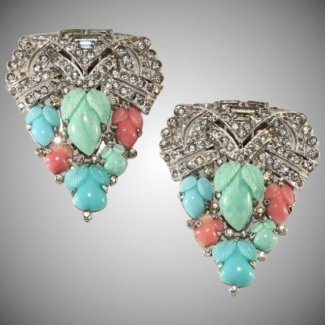 1930s Trifari 1930s Fruit Salad and Rhinestones Dress Clips Brooches For Sale - Image 5 of 5