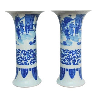 Chinese Blue and White Porcelain Trumpet Vases - a Pair For Sale