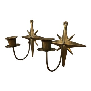 Vintage Brass Candle Sconces - a Pair For Sale