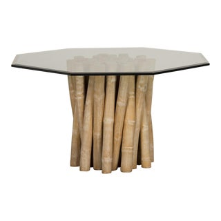 Vintage Budji Collection Bamboo Table Base, American c.1980, Glass Top For Sale