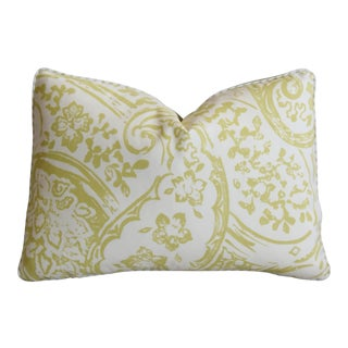 "Paisley Lee Jofa & Italian Scalamandre Wool Mohair Feather/Down Pillow 22"" X 16"" For Sale"