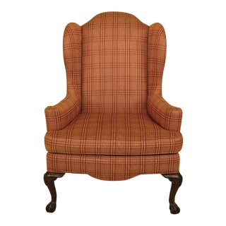 Ethan Allen Upholstered Clawfoot Cherry Wing Chair For Sale