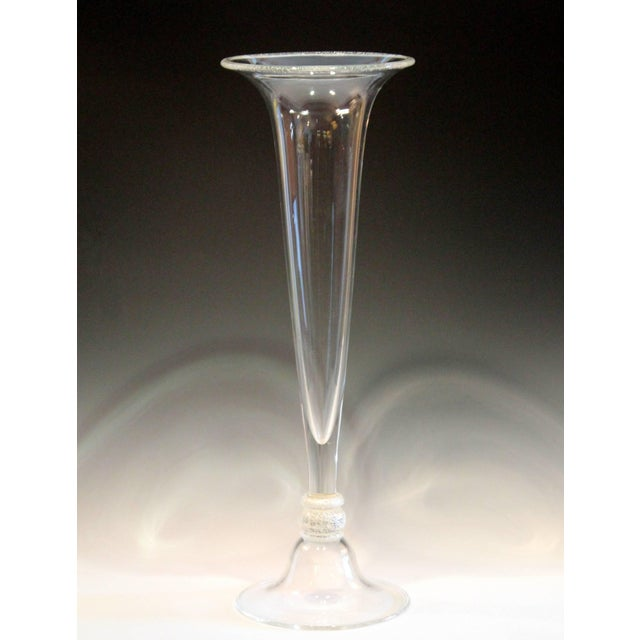 Seguso Vetri d'Arte Tall Trumpet Form Murano, 1950s Signed Silver Center Vase For Sale - Image 9 of 11