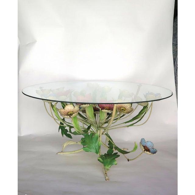 Italian 1960s Italian Multi-Color Tole Wrought Iron Coffee Table For Sale - Image 3 of 6