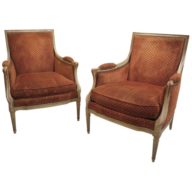 Pair of French Late 18th Century Louis XVI Bergères For Sale