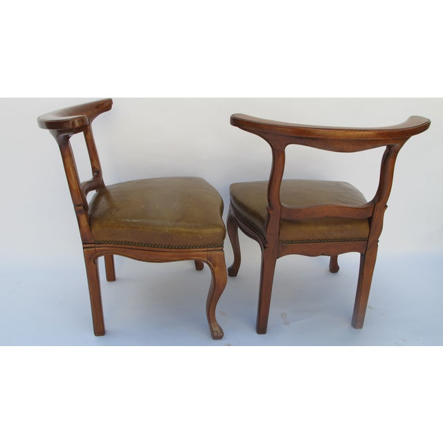 English Regency Leather Side Chairs - Pair - Image 4 of 5