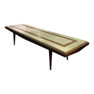 Harvey Probber Style Walnut and Travertine Coffee Table For Sale
