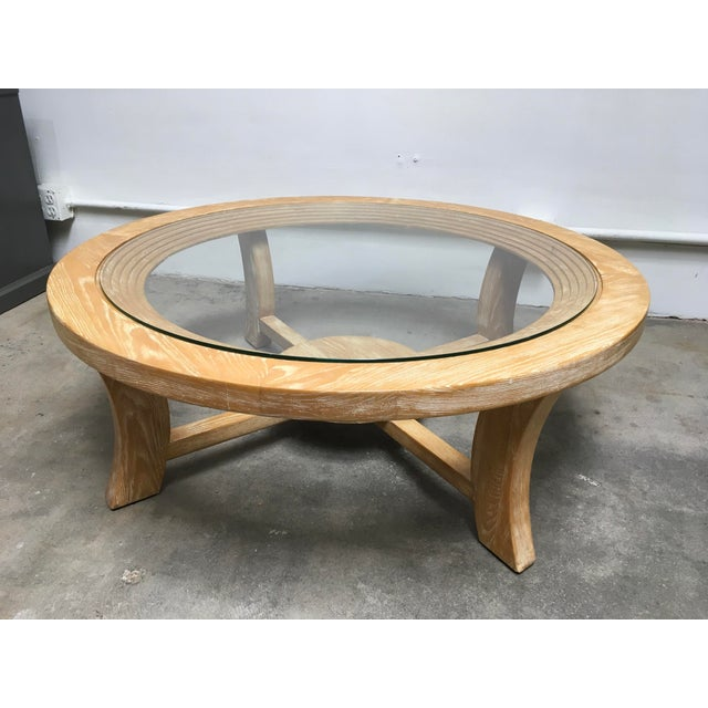 1940s Mid-Century Modern Paul Frankl for Brown Saltman Round Cerused Oak Coffee Table For Sale - Image 12 of 12
