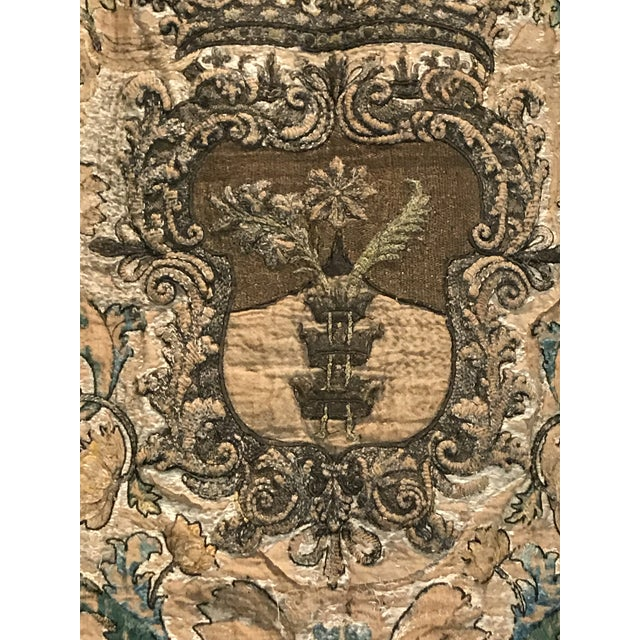 Needlework Tapestry With Intricate Shield and Floral Designs For Sale - Image 12 of 13
