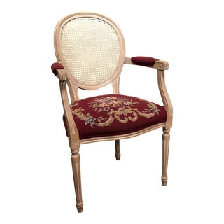 Vintage Louis XVI Cane Back Needlepoint Armchair For Sale