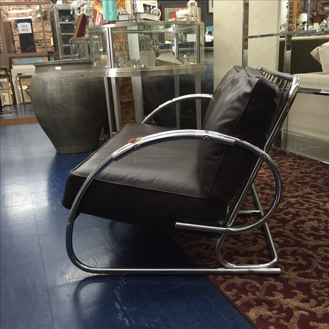 Chrome and Brown Leather Loveseat - Image 3 of 6