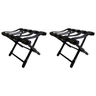 Pair French Mid-Century Ebonized Leather Strap Benches, Style Jean Michel Frank