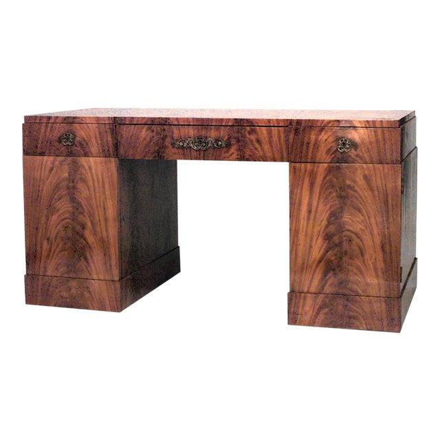 German Biedermeier Mahogany Kneehole Desk For Sale