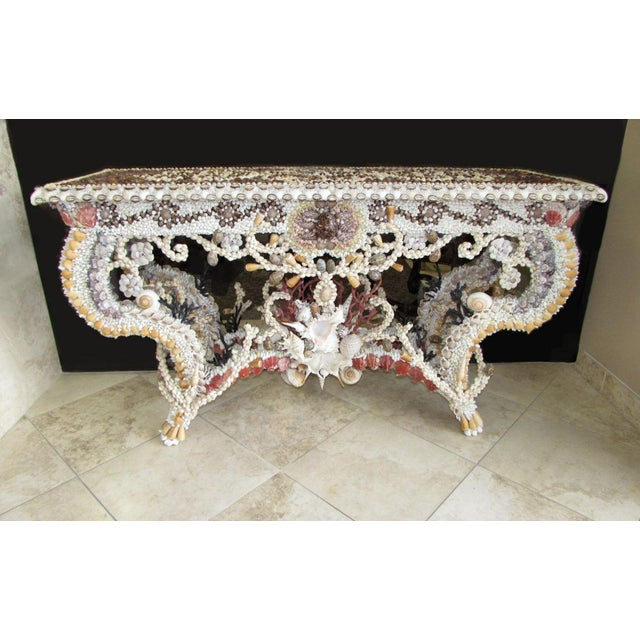 French Louis XV Seashell Encrusted Console Table For Sale - Image 12 of 12