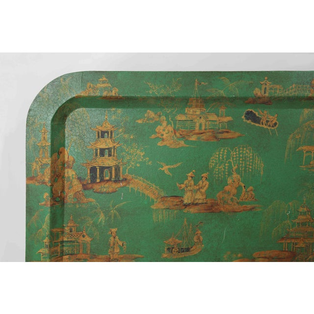 Vintage Chinoiserie Green Tray With Hand Painted Scenery in Gold Paint For Sale - Image 4 of 12
