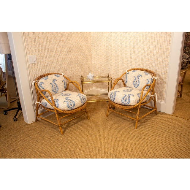 Original condition of the vintage bamboo and rattan chairs with newly made custom Casa Branca Jaipur Paisley Cushions