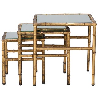 Italian Faux Bamboo Gilt Metal Nesting Tables - Set of 3 For Sale