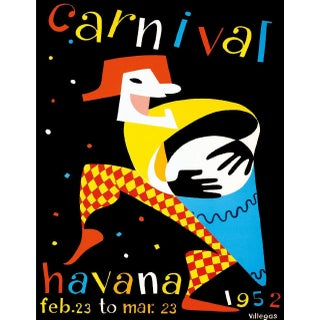 Havana Carnival Travel Poster, Matted and Framed