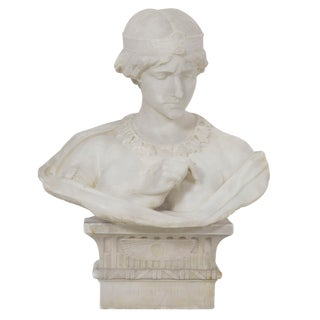 "Antique Italian Marble Sculpture ""Bust of Cleopatra"" by Aristede Petrilli For Sale"