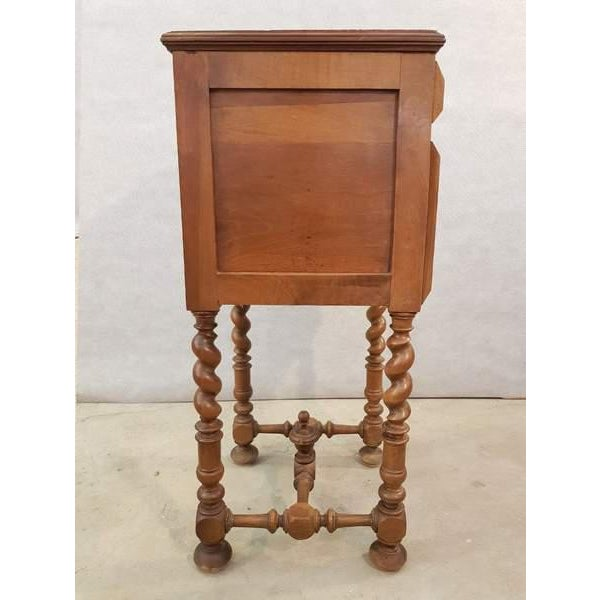 1940s Antique French Vanity Armoire Barley Twist Stand Desk With Marble Top For Sale - Image 5 of 13