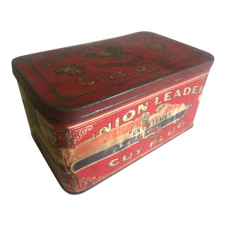 "Rare Vintage Early 1900's ""Union Leader Cut Plug"" Lithograph Print Tobacco Tin Box For Sale"