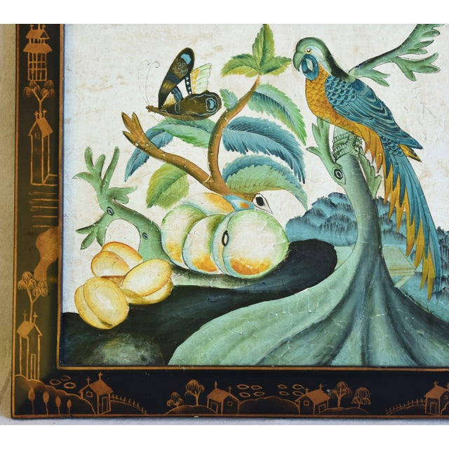 Vintage Chinoiserie Painting of Fruit, Parrot and Butterfly