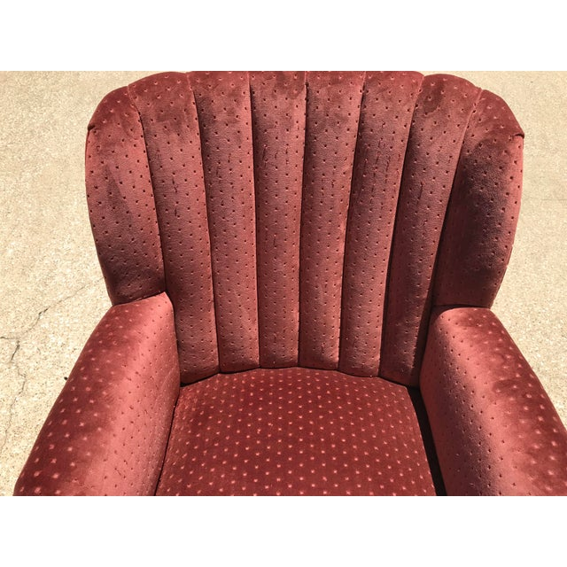 Vintage Velvet Tufted Wingback Chair For Sale In Dallas - Image 6 of 8