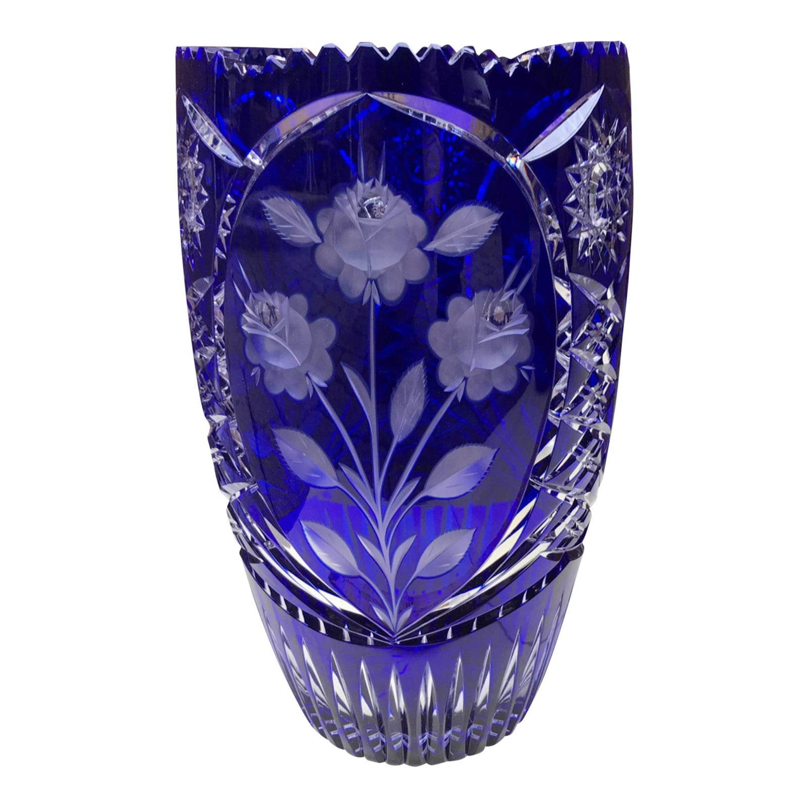 img crystal superb glass vase stourbridge blue cut glassware