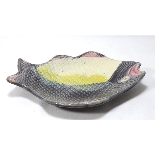 Ceramic Antique 1880s Majolica Fish Relish Tray For Sale - Image 7 of 11