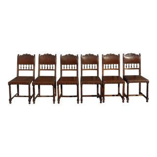 Vintage Spanish Colonial Style Carved Wood & Brown Leather Dining Chairs - Set of 6