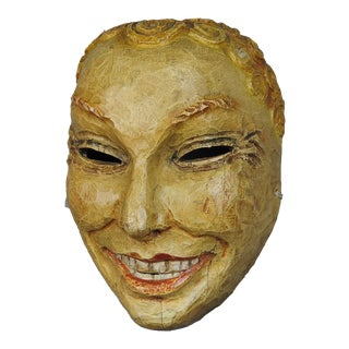 Historic Wooden Carved Tyrolian Carnival Fasnet Mask For Sale