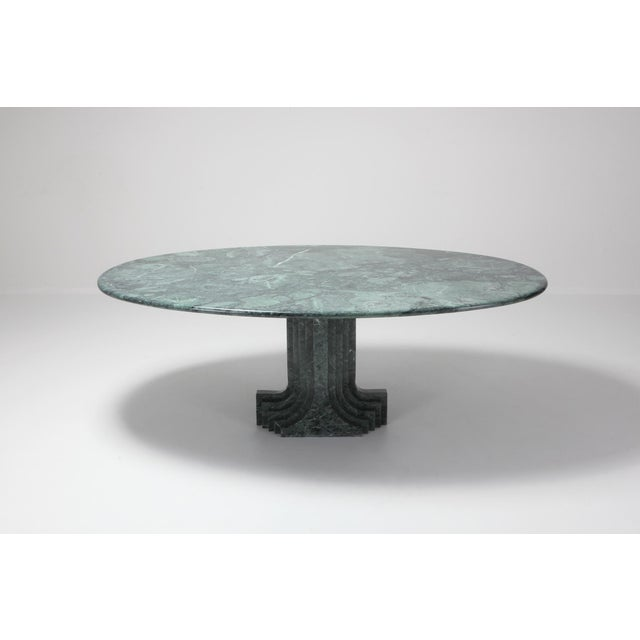 1970s Carlo Scarpa Dining Table 'Samo' in a Rare Green Marble For Sale - Image 5 of 11