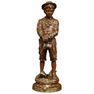 "19th Century French Patinated Bronze Statue ""La Cruche Cassee"" Signed C. Anfrie For Sale"