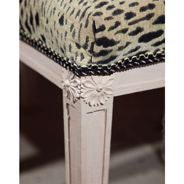 Pair of Swedish Gustavian style stools. Each of these fabulous stools is upholstered in animal print fabric and features a...
