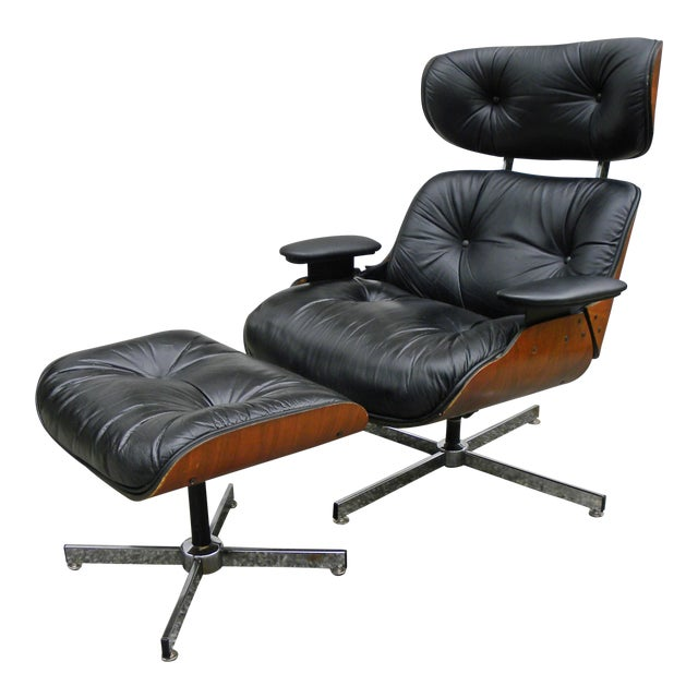Vintage Plycraft Mid Century Vintage Leather Lounge Chair & Ottoman For Sale
