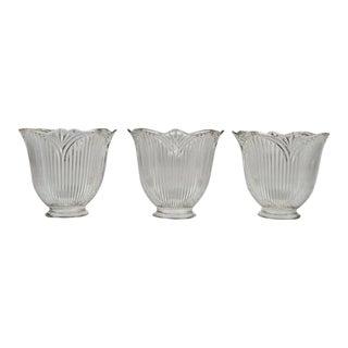 Vintage Tulip Holophane Glass Light Shades - Set of 3 For Sale