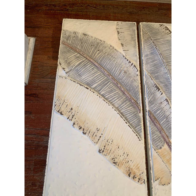 Pressed Tin Triptych of Painted Banana Leaves by Kalalou - 3 Pieces For Sale - Image 4 of 13