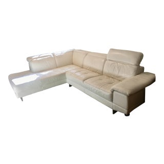 Ivory Two Sectional Leather Sofa For Sale