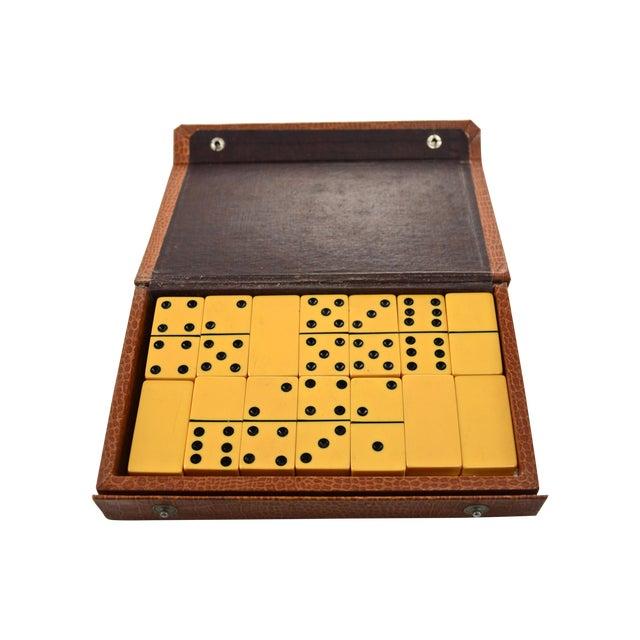 Yellow Bakelite Dominoes in Brown Case - Image 1 of 5