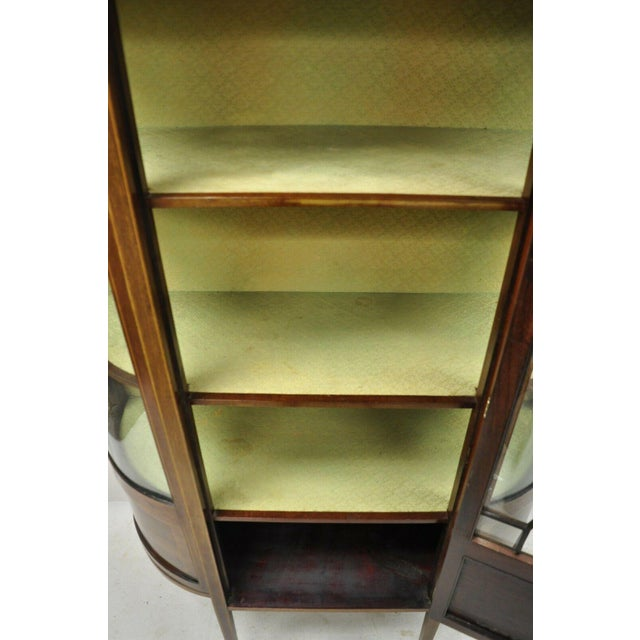 Brown English Edwardian Satinwood Inlay Bowed Curved Glass China Display Cabinet Curio For Sale - Image 8 of 13