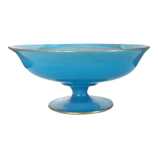19th Century French Blue Opaline Compote For Sale