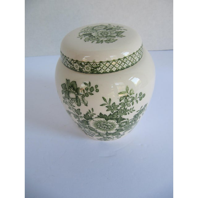 Mason's Ironstone English Mason's Green Flower Ironstone Ginger Jar For Sale - Image 4 of 6
